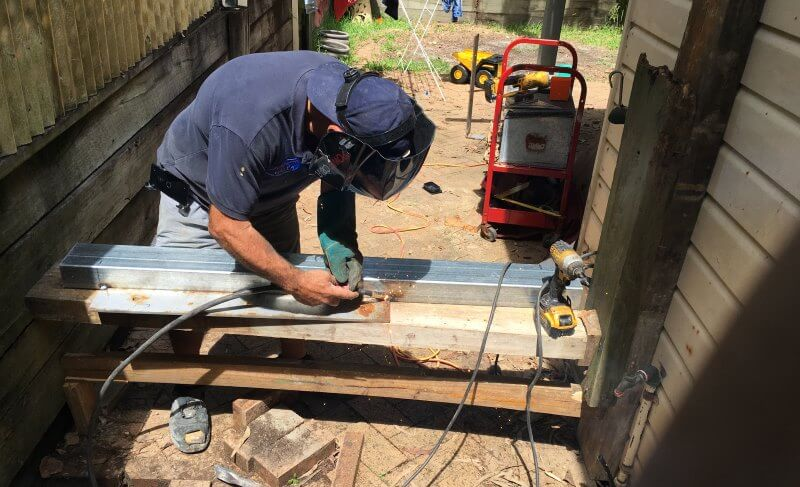 welding for retaining wall repair